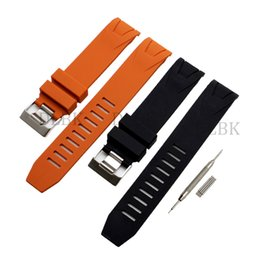 rubber sport bracelets UK - 20mm 22mm Black Orange Sport Bracelet Waterproof Diving Silicone Rubber Watch Band Straps Stainless Steel Buckle for Omega 2901.50.91+tools