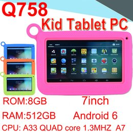 "A33 Quad Core Tablet Australia - Q758 Kids Brand Tablet PC 7"" Quad Core Children Tablet Android4.4 512MB 8GB A33 Google Player Camera WIFI Speaker Protective CPB-7"