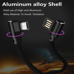 Discount color sync usb iphone 90°Right Angle Side Plug Metal Double Sided Type-c Micro USB Data Sync Charge Braided Cable For Samsung S8 S7 Note5 Huawei LG all phone