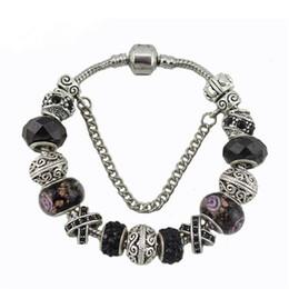 Diy Fashion Bracelets Australia - 17 18 19 20 21cm pandora bracelet fashion silver charm bracelet for women black crystal beads diy snap jewelry drop shipping