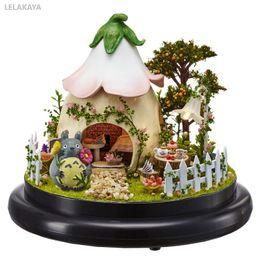 small wooden houses 2019 - DIY Totoro Small Handmake Mini Doll House Wooden Miniature Assembling Dollhouse Glass Ball Decoration Kit Green Garden D