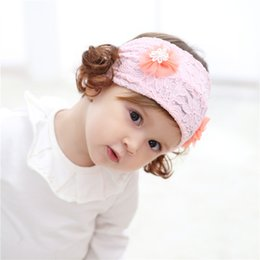 Pretty Hair For Australia - Flower Elastic Baby Hairband Lace Headbands Wig Hair Accessories Cute Pretty Hairpins for Infant Girl Children 5Colors Selection