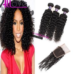 curly brazilian virgin hair wefts 2019 - Cheap 8A Brazilian Hair Wefts Kinky Curly 3pcs with Lace Closure Good Malaysian Virgin Hair Bundles Peruvian Hair Extens