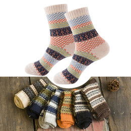 Discount vintage red socks - 16 Colors Men Women Vintage Striped Totem Winter Socks Teenager Merino Wool Socks Rabbit Wool Thick Thermal Art For Male