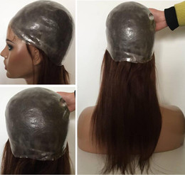 Thin skin lace wigs online shopping - Full Thin Skin Wig color virgin brazilian hair pu wig silky straight full silicone wig with baby hair perimeter