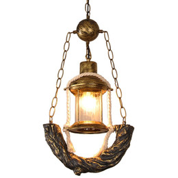 $enCountryForm.capitalKeyWord UK - Vintage Bronze Resin Kerosene Glass Corridor Pendant Lamp Stair Case Hanging Lamp American Coffee House Bar Counter Pendant Lamp