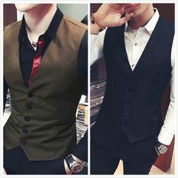 $enCountryForm.capitalKeyWord Australia - Men Suit Vests Single Breasted Khaki Waistcoat Slim Fit Jacket Brown Clothing Black Casual Vest Coat