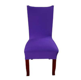White Banquet Chairs UK - Dreamworld Solid Color Chair Covers Spandex White Elastic Chair Covers Colorful Printing Covers for Chairs Wedding Dinner Hotel