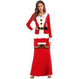 41c55a877e 2018 Fashion Casual Long Christmas Dress Women Winter Long Sleeve O-neck  Santa Claus Party Maxi Dress Red Cosplay Plus Size