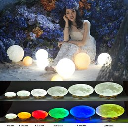 Wholesale Magical Moon LED Bulbs D LED Night colors Moonlight Desk Lamp USB Rechargeable D Light Colors Stepless for Christmas lights gifts