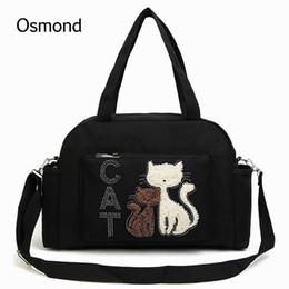 $enCountryForm.capitalKeyWord NZ - Wholesale-Osmond Canvas Cat Handbags Embroidery Messenger Bag Women Shoulder Bags Large Capacity Crossbody Bag Lady Totes Casual Bolsa Cat