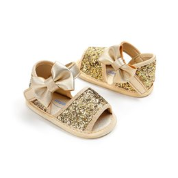 3e3374577ef86 Princess Baby Infant Kids Girl Soft Sole Crib Toddler Summer PU Leather Sandals  bowknot sequined bling Shoes 0-18M firstwalkers