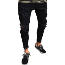 Denim Pants Men Skinny NZ - Men Stylish Ripped Jean Pants Biker Skinny Slim Straight Frayed Denim Trousers New Fashion Men Clothes Dropshipping