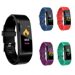 Wholesale Sleep Box NZ - ID115 Plus Smartband Color Touchscreen Smart Bracelet Heart Rate Blood Pressure Monitor Fitness Tracker Bracelet for Android IOS with Box