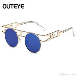 e8d10d559a Outeye Metal Frame Steampunk Sunglasses 2017 Brand Designer Round Men Retro  Vintage Gothic Sun glasses For Women Eyeglasses