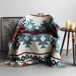 bohemian home decor 2019 - High Quality Bohemian Cotton Knitted Decorative Sofa Blanket Thread Blanket for Beds Soft Bed Vintage Home Decor Tapestr
