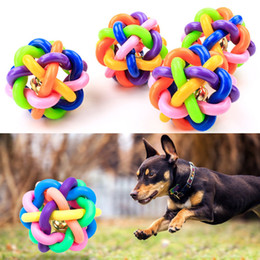 Plastic Dog Balls Australia - colorful ball pet toy dog toy cat toy with bell for small medium large dog Chihuahua Yorkshire Poodle pet product hot