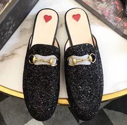 $enCountryForm.capitalKeyWord NZ - Luxury designer slippers black Flash Genuine Leather Horsebit buckle Baotou half slipper for women metal buckle lazy shoes slippers