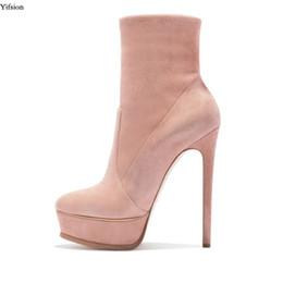 28991d8d Yifsion Plataforma para mujer Botas de media pierna Botas de tacón alto  delgadas Atractivas del dedo del pie señoras Negro Rosa Zapatos casuales  Mujeres ...