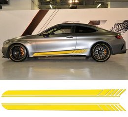 $enCountryForm.capitalKeyWord NZ - 2 Pieces Skirt Sill for Mercedes Benz AMG Edition 1 C63 Coupe W205 Vinly Decal Side Stripes Stickers C200, C250 C300-6 colors
