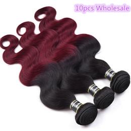 Discount 1b 99j hair weave - 10PCS Top Quality 1B 99J Brazilian Body Wave Virgin Hair Extensions Human Hair Weave 10-28inch Unprocessed Wavy Hair Ext