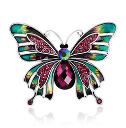 Chinese  Luxury Insect Butterfly Brooches Corsage Scarf Buckle Colorful Enamel Crystal Rhinestone Croach For Women Girl Party Jewelry Costume Accesso manufacturers