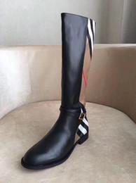 Moda de lujo diseñador mujer botas 2018 nuevas damas botas de invierno clásico de la marca Plaid ejército bootss para mujeres muslo botas altas en venta