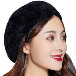 3bf37905707 SUOGRY Winter beret hat for women knitted hat Rabbit fur beret for girl  solid colors fashion lady cap good quality