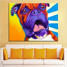 handpainted picture frames 2019 - Large size Print Oil Painting boxer chance Wall painting Home Decorative Wall Art Picture For Living Room paintng No Fra