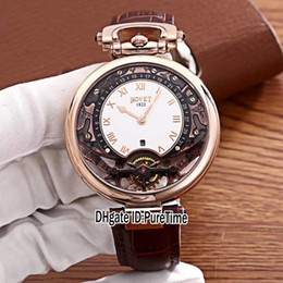 Watches complications online shopping - New Bovet Amadeo Fleurier Grand Complications Virtuoso Rose Gold Skeleton White Dial Mens Watch Brown Leather Strap Sports Watches A04b2