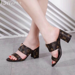 b9a06f181701 NEW FASHION WOMEN LEATHER CHUNKY HIGH HEEL SLIPPER MULE SANDAL SHOES Men  Women FASHION SHOWS Sandals Slippers Mules Wedges Slides
