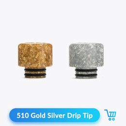Electronic Cigarette Accessories Wholesale Mouthpieces Australia - Newest Drip Tip 510 Resin Golden Silver wide bore For RDA RTA Tank Atomizer Electronic Cigarette Vape Accessories Mouthpiece