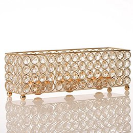 Oil Tables NZ - Rectangular Votive Crystal Candle Tealight Holder Cube Stand Metal Candlesticks Wedding Party Birthday Holiday Table Centerpieces Decoration