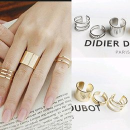 Top China Wholesale Fashion Jewelry Australia - Midi Rings 3Pcs  Set Top Of Finger Over Tip Finger Above The Knuckle Open Ring For women Fashion Jewelry Wedding Ring Set