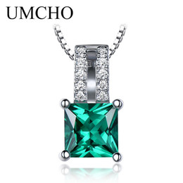 $enCountryForm.capitalKeyWord NZ - UMCHO Pure 925 Sterling Silver Pendants For Women Green Princess-cut Emerald Charm Wedding Pendant Fine Jewelry Without Chain S18101308