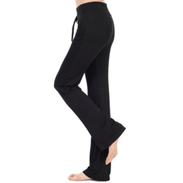 yoga pants long legs UK - RealLion High Waist Stretch Bandage Sport Yoga Pants Women Wide Leg Sport Pants Modal Dance Fitness Long Trousers S-4XL