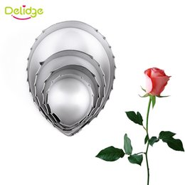 $enCountryForm.capitalKeyWord NZ - Delidge 4Pcs set Stainless Steel Rose Green Leaves Cookie Cutter 3D Fondant Cupcake Biscuit Baking Mold Cake Decoration Tools