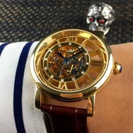 $enCountryForm.capitalKeyWord Australia - Fashion Transparent Silver Golden Case Luxury Casual Design Leather Strap Mens Watches Mechanical Skeleton Watch Men Automatic Clock