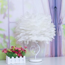 decorative plumes UK - Foyer living room bedroom feather table lamp light LED crystal decorative desk light lamp bedside plume feather table light lamp