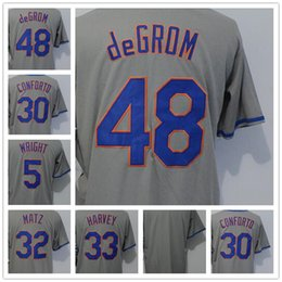 $enCountryForm.capitalKeyWord Canada - 2018 Men's NY Mets 5 Wright 30 Conforto 48 deGrom 33 Harvey 32 Matz Blank Grey Baseball Jersey
