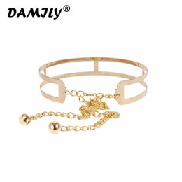 Hollow Chains Design Australia - Hollow Design Women Cummerbund Girl Metal Golden Mirror Plate Thin Belt with Chains Wide Dress Waistband Band Belt