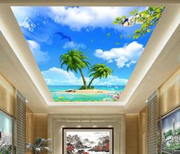 $enCountryForm.capitalKeyWord NZ - Wholesale- Custom photo wallpaper 3d ceiling murals wallpaper Blue sky white clouds coconut plant flower ceiling zenith mural Decor