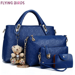 $enCountryForm.capitalKeyWord Australia - Flying birds women leather handbag 4 pcs set luxury tote women bag brands bolsos pouch messenger bags ladies wallet female purse