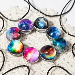 Discount crystal ball necklace wholesale - Collares Duplex Planet Crystal Stars Ball Glass Galaxy Pattern Leather Chain Pendants Maxi Necklace For Womem Girlfriend
