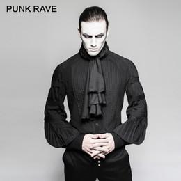 Discount gothic steampunk clothing - PUNK RAVE Steampunk Gentleman Necktie Shirts Gothic Black Silk Ties Big Balloon Sleeves Men Ruffle Blouses Clothing Part