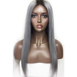 China Straight Ombre Color Wig 1B Grey Full Lace Human Hair Wig 130% Density with Dark Black Roots 100% Brazilian Virgin Human Hair 1B Gray Wig cheap gray human hair wigs suppliers