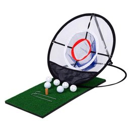 golf practice mats 2019 - Golf Chipping Practice Net Golf Pop UP Indoor Outdoor Chipping Pitching Cages Mats Practice Easy Net Training Aids disco