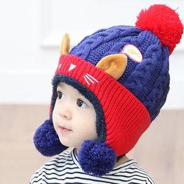 Wholesale Cute Beanies NZ - Kakaforsa Children Winter Woolen Yarn Pompom Hats with Cute Ears Girls Warm Soft Beanies Patchwork Hit Color Caps Neck Warmer