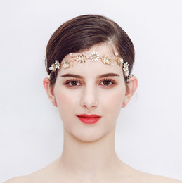 wedding gold hair pieces UK - Handmade Bridal Forehead Vine - Bridal Hair Piece, Wedding Pearl Gold Plated Hair Vine Bridal Hair Accessories