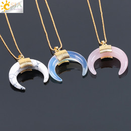 $enCountryForm.capitalKeyWord NZ - CSJA Natural Stone Crescent Half Moon Necklace Pendant with Chain Gold Color Wire Wrapped for Women Rose Quartz Crystal DIY Jewelry F063